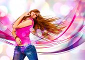 image of sassy  - young girl dancing in discolight - JPG