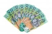 stock photo of ten thousand dollars  - A fan of ten Australian one hundred 100 dollar note bills cash money totalling  - JPG