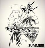Постер, плакат: художественные летние каникулы рисованной иллюстрации
