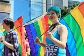 VANCOUVER BRITISH COLUMBIA, CANADA - JULY 31: Colorfully dressed participants during the annual gay