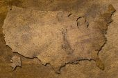 stock photo of dtp  - usa map vintage copper texture looks like old - JPG