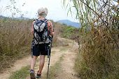 Traveler Hiker Man With Backpack Hiking On Mountain. Leg Of Tourist Backpacker With Stick Trekking I poster