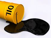 stock photo of crude-oil  - Oil pouring out of a fallen drum - JPG