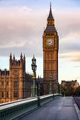 Palace of Westminster Elizabeth Tower aka Big Ben as seen from the Westminster Bridge in a morning l poster