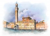 Piazza del Campo in Siena, Italy. Digital watercolor created by me, Andrea Danti. poster
