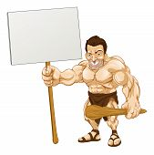 image of muscle man  - A cartoon illustration of a muscular caveman holding a sign - JPG
