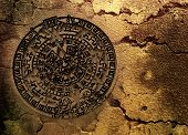 stock photo of day judgement  - A conceptual 3d render of the Mayan calander as if etched out of gold - JPG