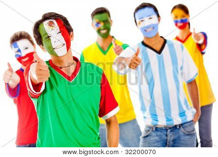 Latin team with thumbs up - isolated over a white background