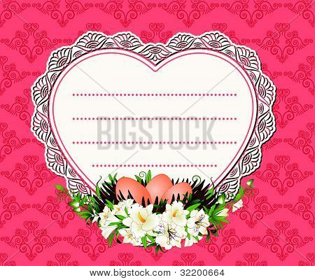 Eggs with lace decorations and flowers and a place for text, vector