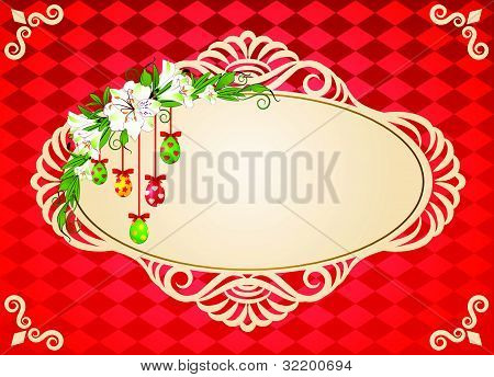 The decorative frame on the background of shapes and colors vector