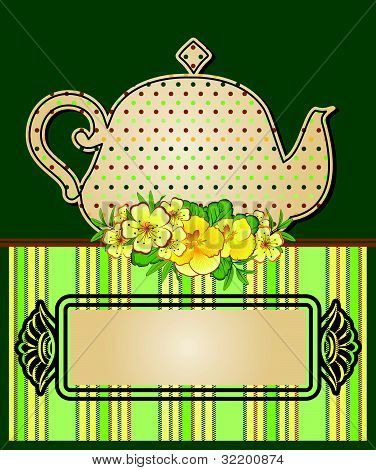 Vector illustration vintage ceramic kettle on the decorative background