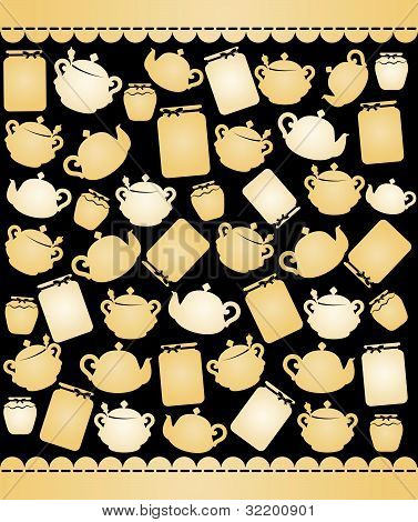 Illustration vintage ceramic pots of tea on the decorative background vector