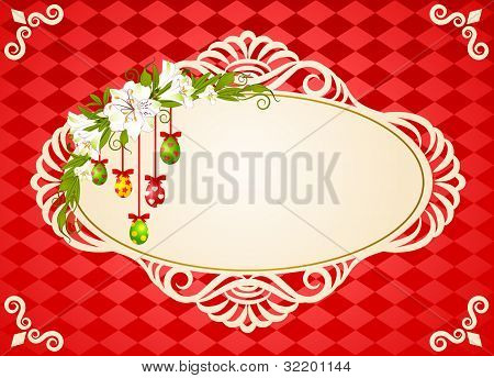 The decorative frame on the background of shapes and colors