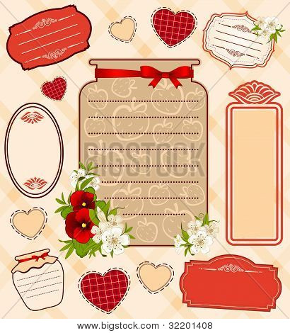 The illustrations of the banks with strawberry berries and flowers framework for the text