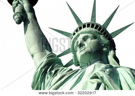 New York's Statue of Liberty isolated on white.