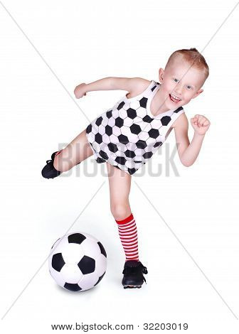 Little Boy Hits A Soccer Ball