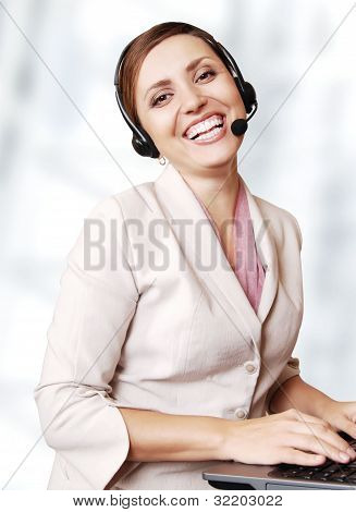Happy Smiling Call Center Operator