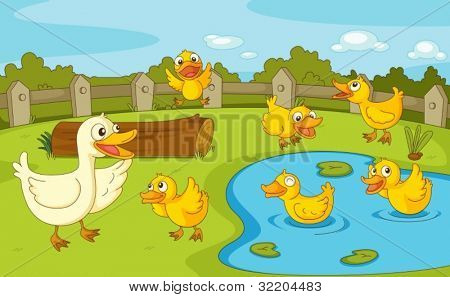 Iillustration der Familie der Enten am Teich