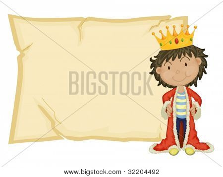 Young king in front of paper