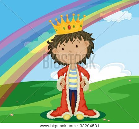 Young king in a field with rainbow
