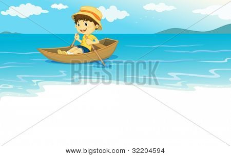 Illustration of a young boy  rowing on the water