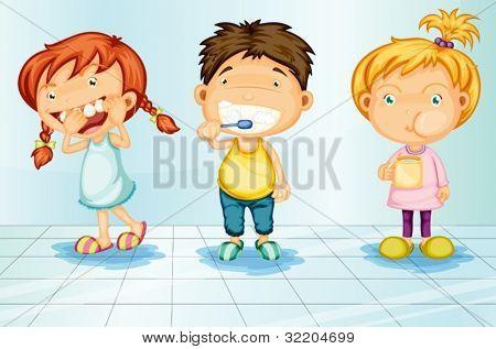 Crianças cuidando de ilustração de dentes