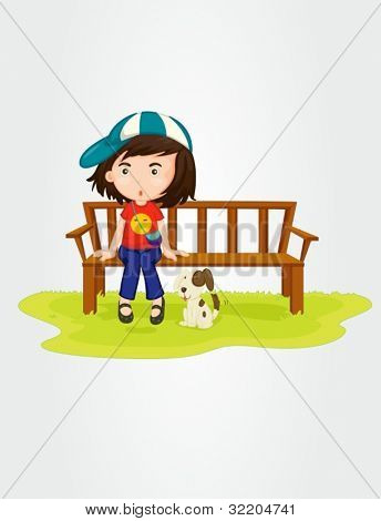 Illustration of a girl sitting on bench