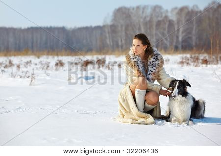 Woman With Dog Outdoors