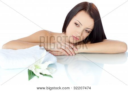 beautiful brunette woman portrait with towel
