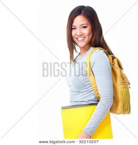 Junge asiatische Studentin Mädchen mit Buch. Isoliert auf weißem Hintergrund.