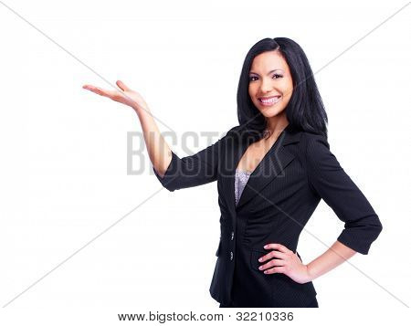 Young hispanic business woman showing copyspace. Isolated on white background.