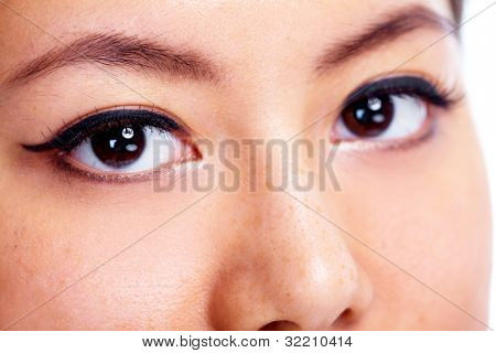 Asian woman eye. Ophthalmology. Vision health.