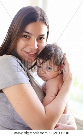 Happy Smiling Mother With Baby