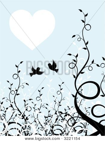 Birds And Heart Background