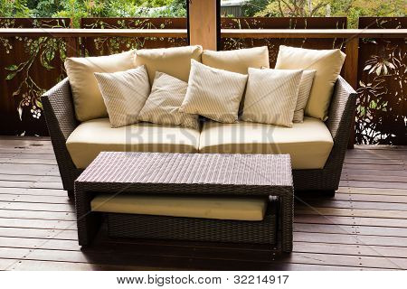 Sofa And Coffee Table On The Patio