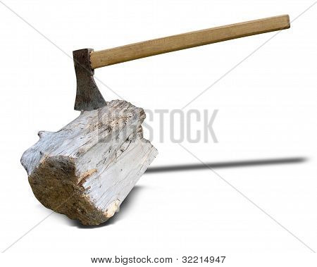 Axe And Wooden Log With Shadow Isolated On White