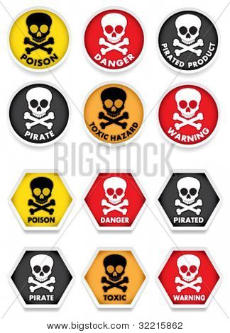 Skull & Crossbones Warning Stickers