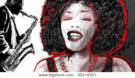 Illustration of an afro american jazz singer with saxophone player