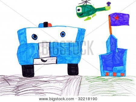police car, helicopter and castle. child's drawing on paper.