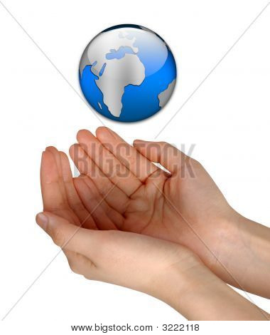 Woman Hands Holding Blue Earth Isolated Over White Background