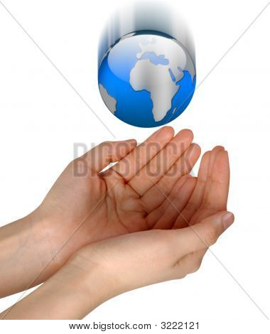 Woman Hands Catching Falling Blue Globe