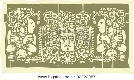 Mayan Triptych Woodblock C