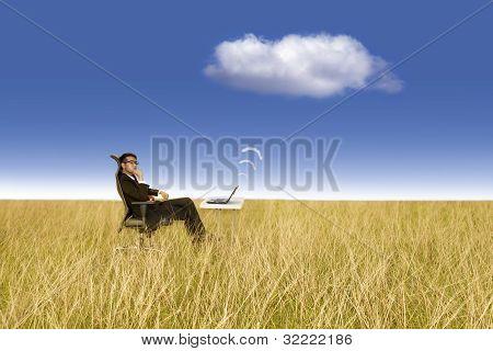 Businessman Works Outdoor