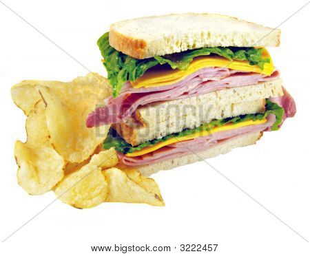 Ham And Cheese Sandwich With Chips