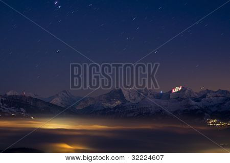 Swiss Alps With Light Show