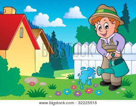 Garden theme image 1 - vector illustration.