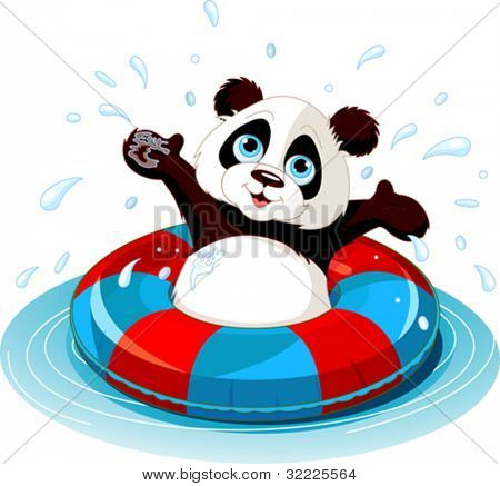 Summer fun Panda swimming