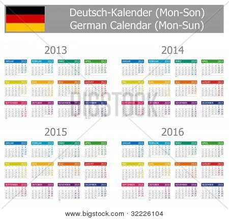 2013-2016 Type-1 German Calendar Mon-Sun