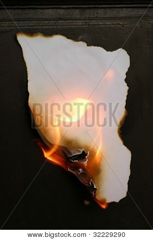 this is burning paper on black background