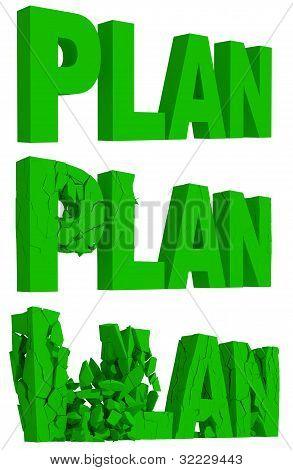 Que se agrieta y desmorona de la palabra Plan